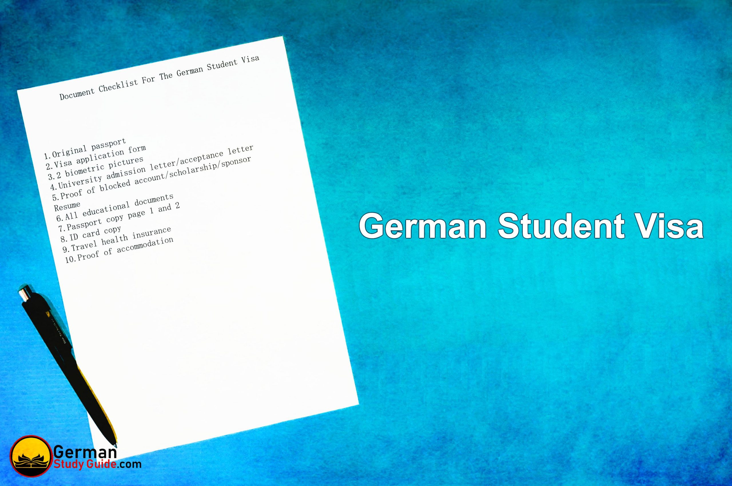 Document checklist for the German student visa