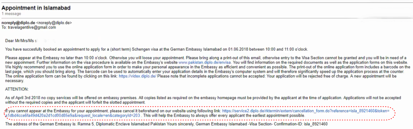 How to Cancel Appointment in German Embassy/Karachi Consulate?
