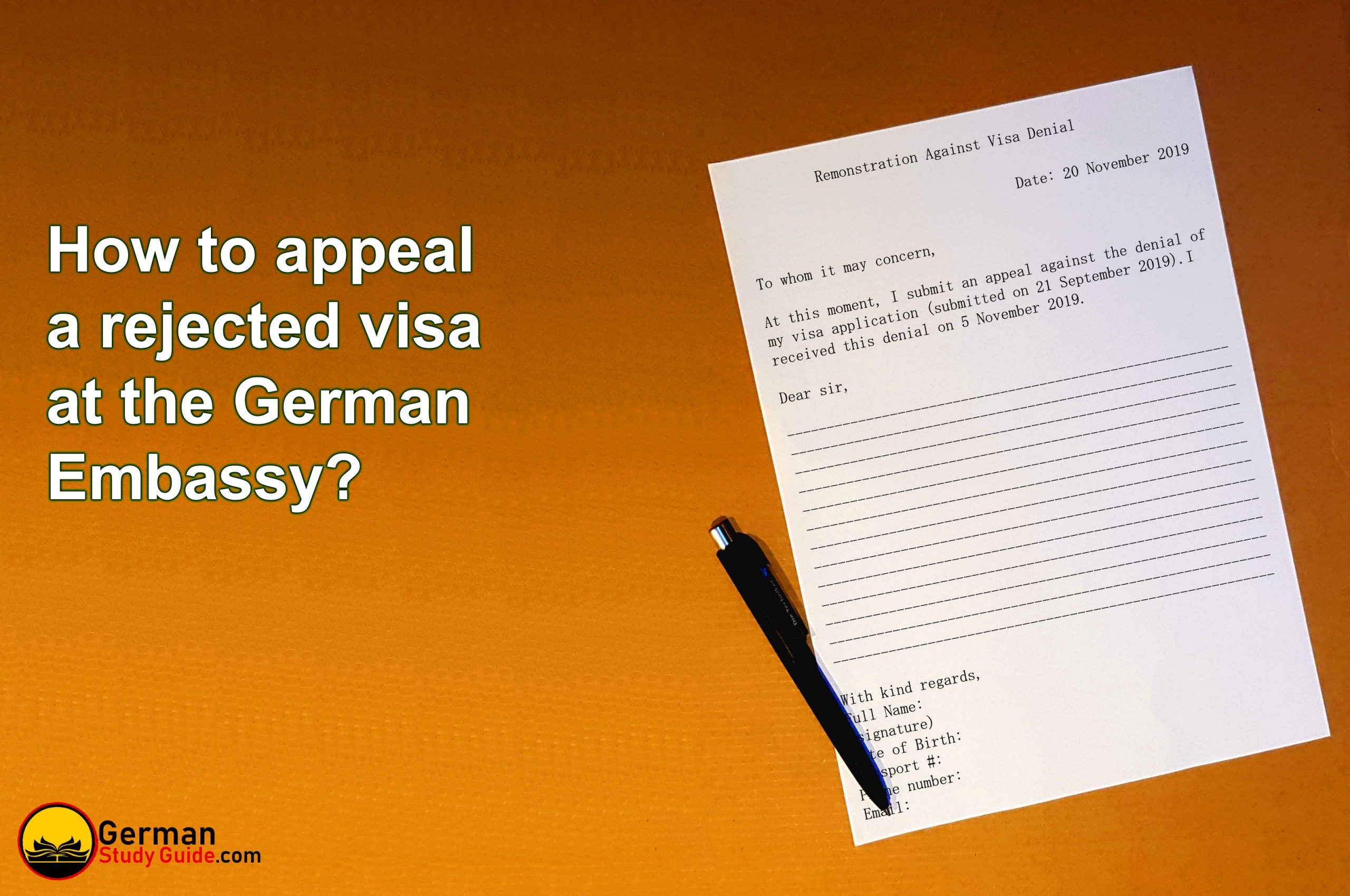 How to appeal a rejected visa at the German embassy?